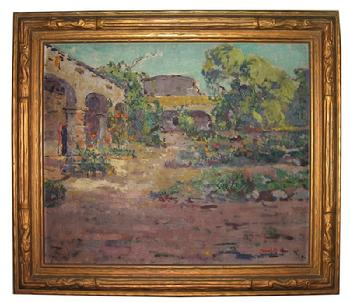 "Thomas L. Hunt 1882-1932  ""Inner Courtyard, Mission San Juan Capistrano ~ Private Collection ~"